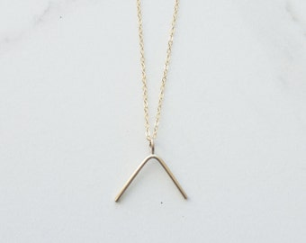 CLIMB.... v shape necklace, minimal gold necklace, climb necklace, geo necklace, minimal necklace, v charm necklace