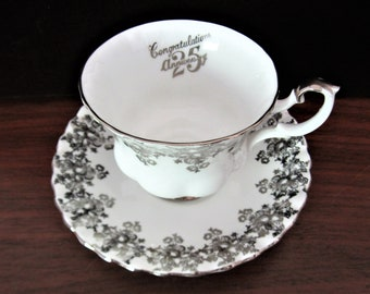 Royal Albert Silver Anniversary Bone China Tea Cup And Saucer Set. Made In England