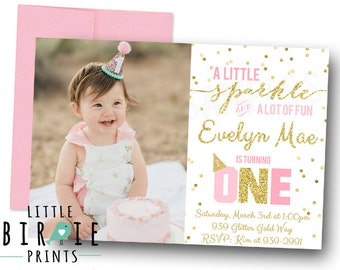GOLD AND PINK Invitation,  First birthday invitation, Sparkle Gold Confetti Invitation, Gold Glitter Invitation 1st Birthday Invitation Girl