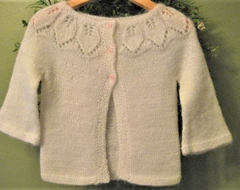 Hand Knitted Baby Girl White Leaf Lace Cardigan Sweater