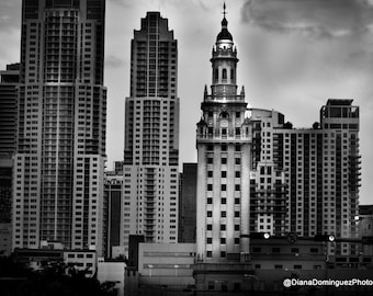 Miami Pictures - Miami Photos - Miami Skyline - Miami Beach Photo - Modern  Wall Art - Black & White Fine Art Print Photography