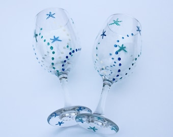 Blue & Teal Starfish, Hand Painted Wine Glasses,  Pair of 2, Large 20 oz.