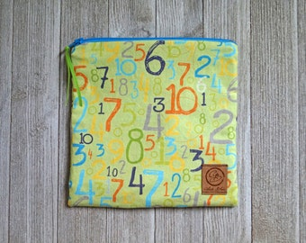 Reusable Sandwich Bag - Just Numbers -  Numbers on Lime Green Background