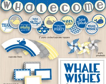 WHALE WISHES Baby Shower Printable Package- Instant Download