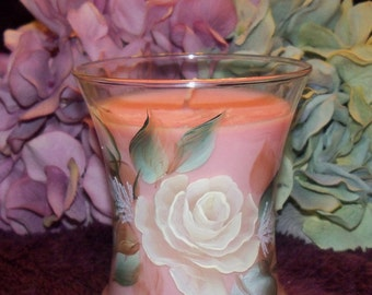 Hand Painted Rose Candle Jar with Pomegranate Fragrance