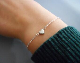 Silver Heart Bracelet, Delicate Sterling Silver Heart Bracelet, Dainty Heart Bracelet, Thin Silver Bracelet, Everyday Silver Bracelet,  #546