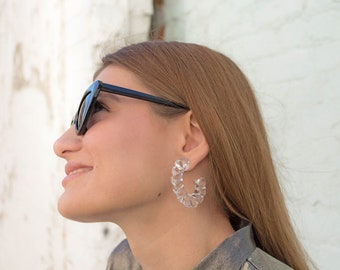 Vintage Lucite Hoop Earrings / 80s Hoop Earrings / Acrylic Hoop Earrings / Dead-Stock Earrings / Vintage Accessories / Statement Earrings