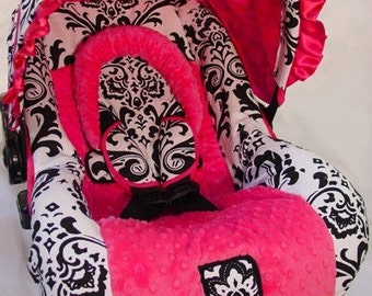 Custom Boutique Large Black and White Damask/Hot Pink MInky Infant Car Seat Cover 5 piece set
