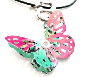 Tween Girl Jewelry Recycled Soda Can Tab Tween Girl Gift Arizona Tea Upcycled Recycled  Handmade Butterfly Necklace Eco Friendly 3D - N70