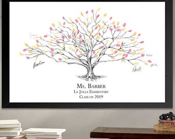 Teacher Gifts Low Oak Thumbprint Tree of Students Print, Fingerprints, Signature, Gift for Teacher, Back to School  (8 x 10- 24 x 36)