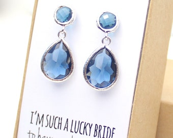 Navy Blue / Silver Two Piece Teardrop Post Earrings - Blue and Silver Earrings- Navy Stud Earrings - Bridesmaid Gift - Something Blue - EB3