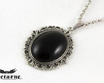 Gothic Black Necklace - Black Onyx Necklace - Oval Onyx Pendant - Gothic Jewelry
