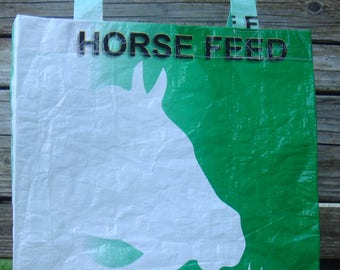 Recycled Feed Bag Tote, reusable tote bag, grocery tote, recycled shopping bag, reusable grocery bag, recycled tote bag, horse