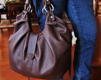 Large brown leather satchel with front pleats in convertible backpack to on the go messenger and work bag - Chocolate Brownie