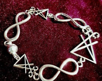 Luciferian Bracelet - lucifer sigil of lucifer baphomet occult gothic witch black magic infinity fallen angel venus