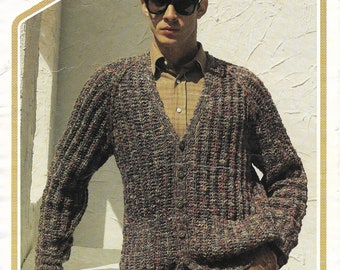 Man's cardigan, PDF knitting pattern, men's v neck, v neck cardigan man's cardigan knitted cardigan 36- 46 inch chest instant download (263)