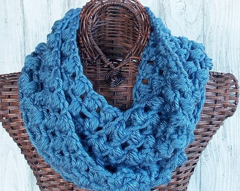 SALE Crocheted chunky cowl in denim blue, fashion accessory for women