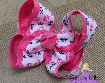 Anchor Boutique Bow - Large, Hot Pink and Navy Anchor Bow, Navy Anchor Bow, Big Anchor Hair Bow, Big Hot Pink Anchor Bow