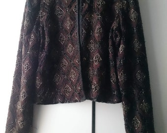 Vintage Hand Embroidered Beaded Heavy Jacket Size M