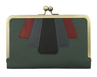 Hold All Leather Applique Wallet in Azure, Magenta & Black on Federation Green