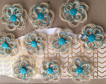 Burlap and Gold Sparkle Button Flower Set - Rustic Wedding - country Wedding - Baby Shower Decor