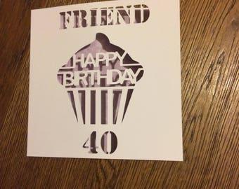 Personable birthday card, papercut, cupcake, milestone, 18,21,30,40,50,60