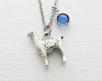 Llama Necklace, Alpaca Animal Jewelry, Farm Animal, Gift For a Man, BFF, Birthday Gift, Best Friend, Swarovski Channel Crystal Birthstone