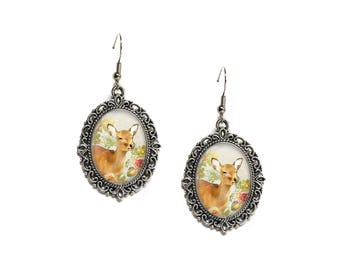Floral Woodland Deer Silver Filigree 18x25 Glass Cameo Earrings