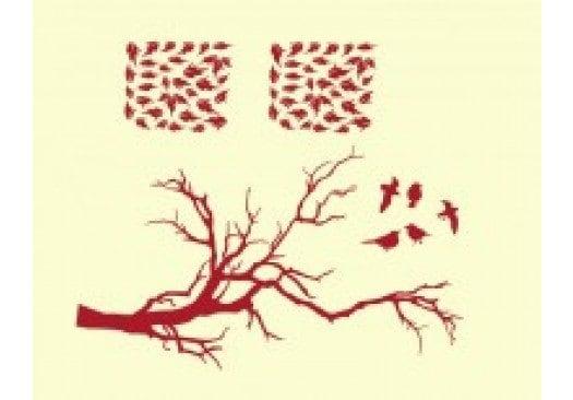 Autumn Bird branch tree wall decal, sticker, mural, vinyl wall art