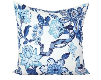 Huntington Gardens Bleu Marine designer pillow covers - Made to Order - Timothy Corrigan for Schumacher