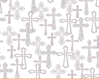 Faith - Crosses in Dove Grey - Silver Gray Inspirational  Cotton Quilt Fabric - Whistler Studios for Windham Fabrics - 43026-3 (W4208)
