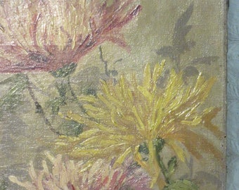 Antique Victorian Vintage original oil PAINTING floral flowers mums art hand painted art home decor shabby pretty fall colors
