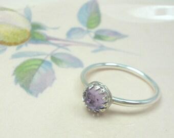 Rose Cut Amethyst Crown Ring - Sterling Silver
