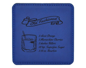 Old Fashioned Drink Coasters - Old Fashioned Mixed Drink Recipies - Choice of Coaster Color and Shape - 094