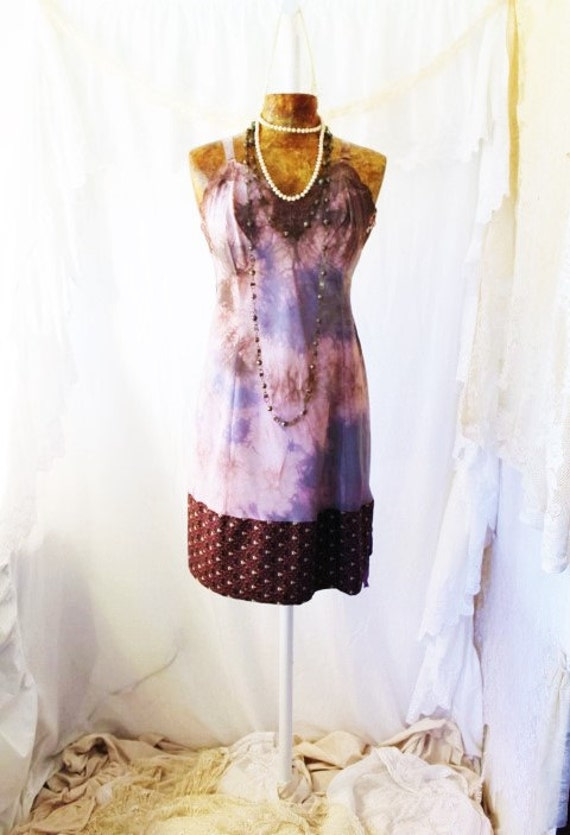Med/Large Upcycled Dress/Tie Dye Dress/Short Dress/Dress/ Upcycled Dress Tie Dye/Brown and purple/Upcycled Baydoll/Wearale Art/Quirky Large