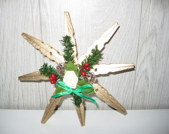Christmas decoration hanging star pegs