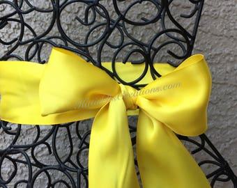 Daffodil Bridal Satin Sash /Yellow Wedding Sash / Gold Bridal Bow / Bridesmaid Ribbon