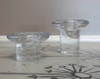 Handmade Blenko Glass Candle Holders Unique Glass Candlestick Holders Housewarming Gifts Vintage Glass