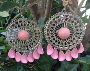 pink sundial gypsy earrngs