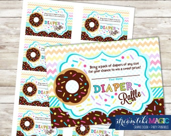 Baby Shower Diaper Raffle Cards for Sprinkled with Love Blue Donut, Printable PDF Diaper Raffle Ticket, INSTANT DOWNLOAD