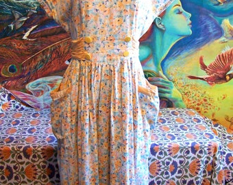 80s does 40s, Dress, Floral, Flowers, Summer, Garden, Day dress, size M / L