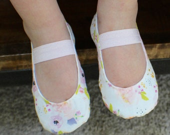 Spring Floral, White and Pink, Baby Girl Shoes - Ballet Flats - Toddler Girl Shoes