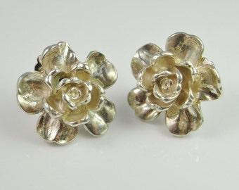 Non Pierced Earrings Rose Earrings Floral Earrings Daisy Earrings Flower Earrings Rose Jewelry Electroform Electroformed Jewelry Clip On