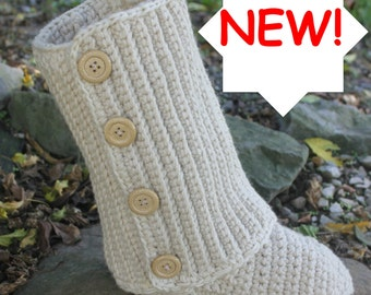 Crochet Pattern Boots --------SWEATER LOOK BOOTS -------- Indoor or Outdoor wear with optional rubber soles ----- womens 5-10