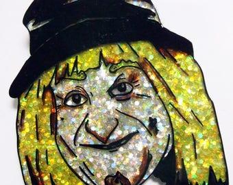 Worzel Gummidge -Iconic retro British TV character glittery brooch/pin
