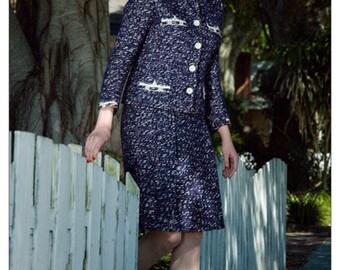 Jackie O Style, Saks Fifth Avenue, Womens Suit, Navy Blue Suit, 50s Suit, Professional Clothing Women, Office Clothes, Business Suit, Size M