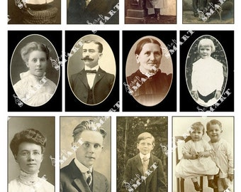 Old Photos With All Ages - Late 1800's-12 Photos on a Collage Sheet Digital Download - APHOT1