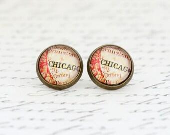 Mother Gift - Travel Gift - Chicago Earrings - Post Earrings - Map Earrings - Chicago Map - Wanderlust - Gift For Her - Bon Voyage Gift