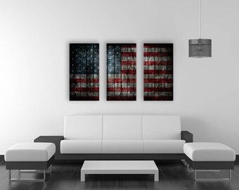 Triptych American Flag On Old Wood Canvas Print Panel Art Vintage America