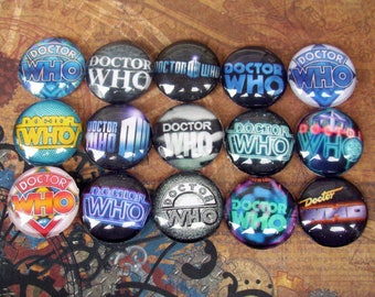 Doctor Who Logo Cabochons (L9-2) Jewelry Making Supply, Lot of 15 pieces, Image Under Glass